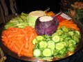 Crudite Platter with Creamy Basil Dip in Cabbage Bowls